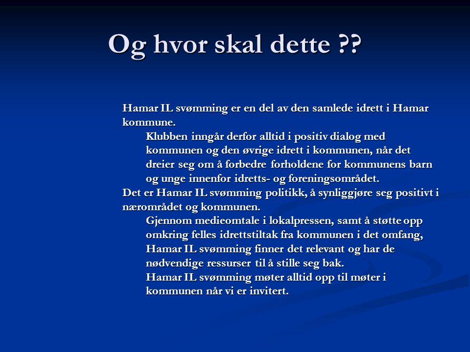 Og hvor skal dette Hamar IL svømming er en del av den samlede idrett i Hamar kommune.