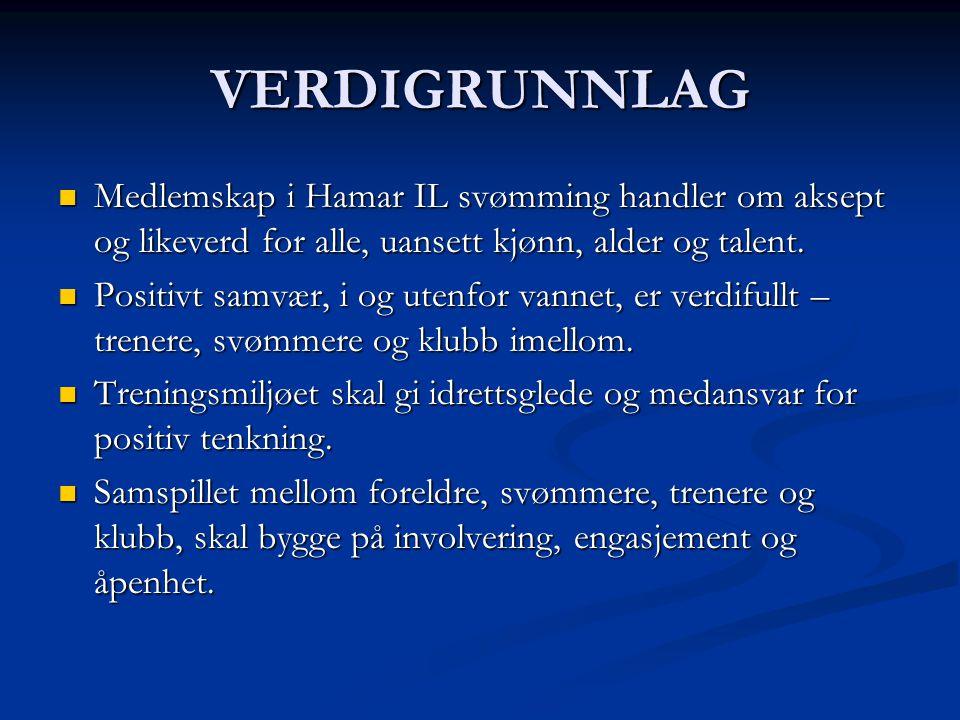 VERDIGRUNNLAG Medlemskap i Hamar IL svømming handler om aksept og likeverd for alle, uansett kjønn, alder og talent.