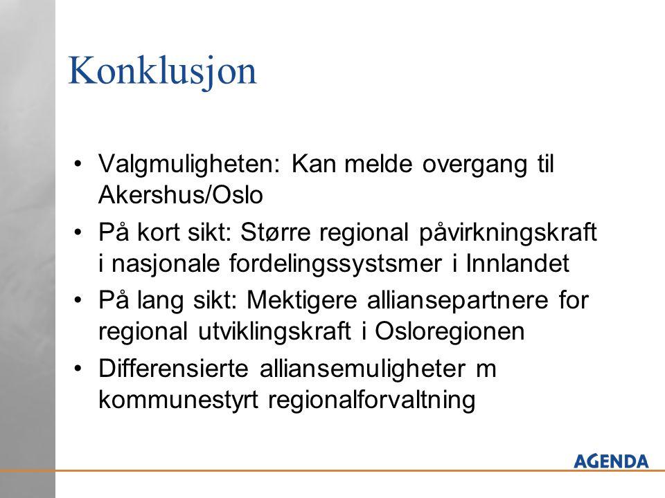 Konklusjon Valgmuligheten: Kan melde overgang til Akershus/Oslo