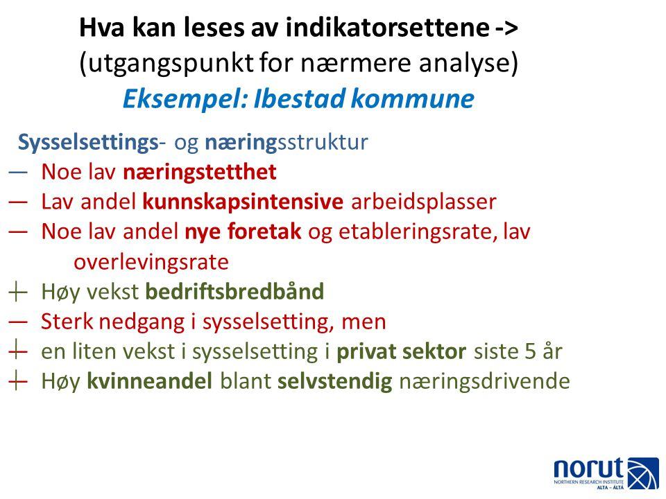 Hva kan leses av indikatorsettene -> (utgangspunkt for nærmere analyse) Eksempel: Ibestad kommune