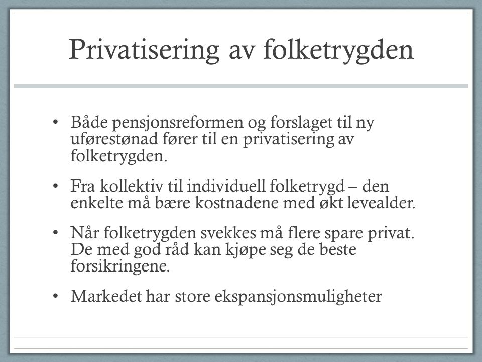 Privatisering av folketrygden