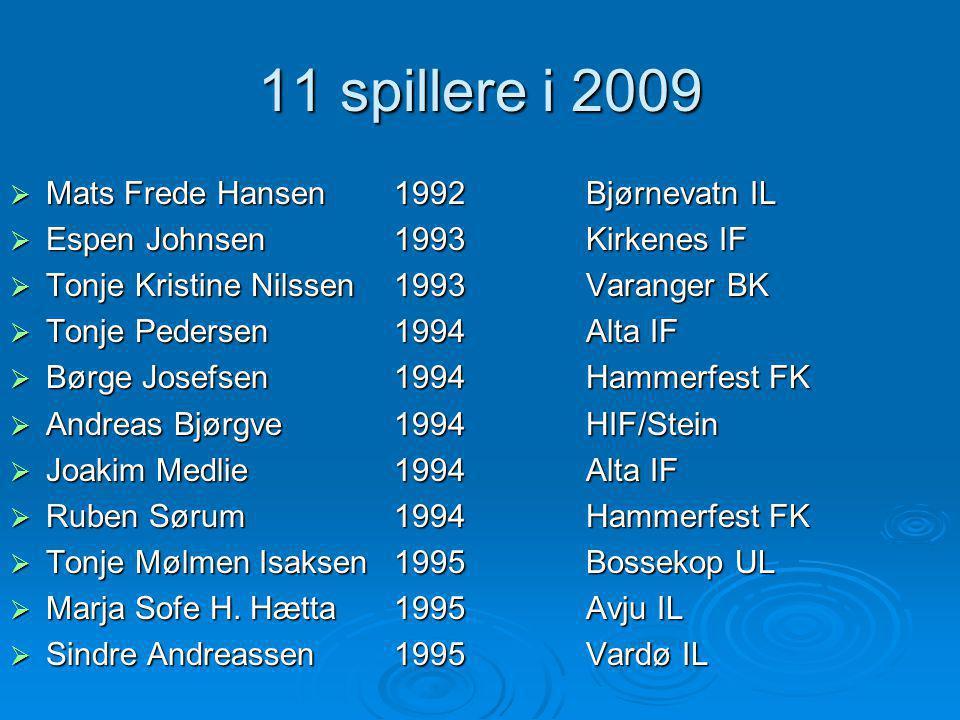 11 spillere i 2009 Mats Frede Hansen 1992 Bjørnevatn IL