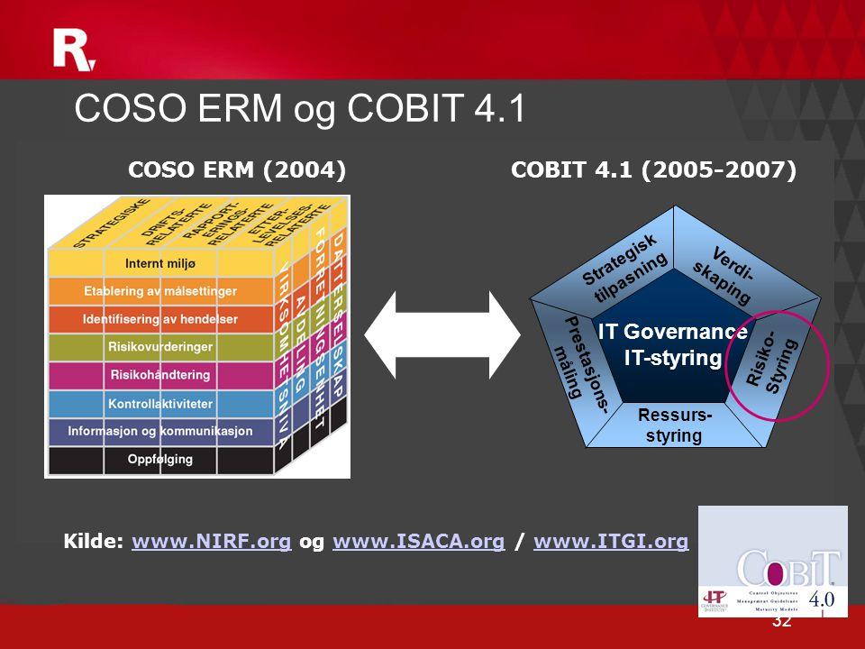 COSO ERM og COBIT 4.1 COSO ERM (2004) COBIT 4.1 (2005-2007)