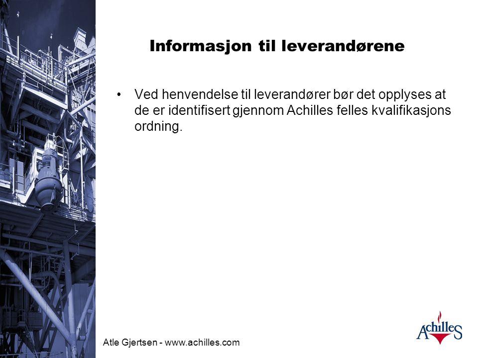 Informasjon til leverandørene