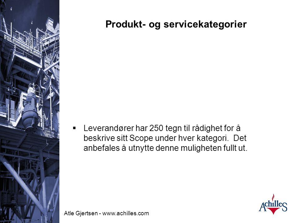 Produkt- og servicekategorier