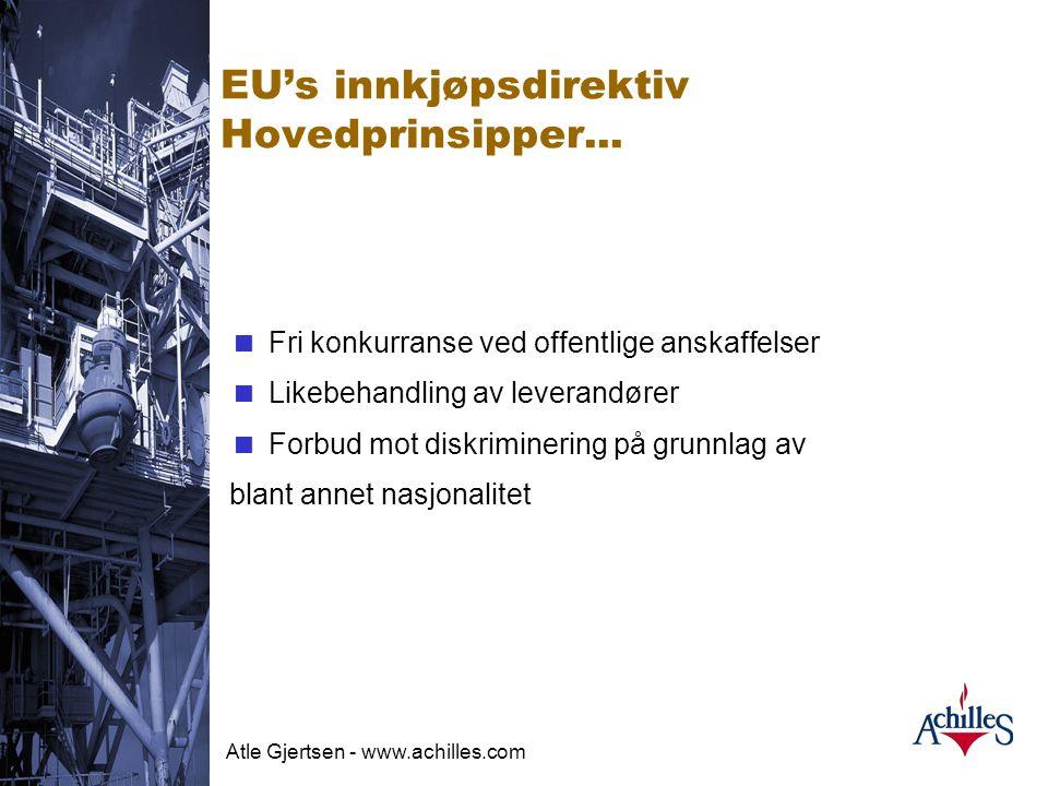 EU's innkjøpsdirektiv Hovedprinsipper...
