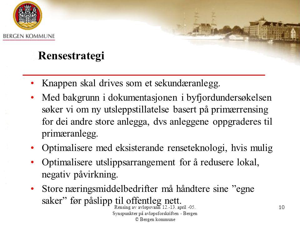 Rensestrategi Knappen skal drives som et sekundæranlegg.