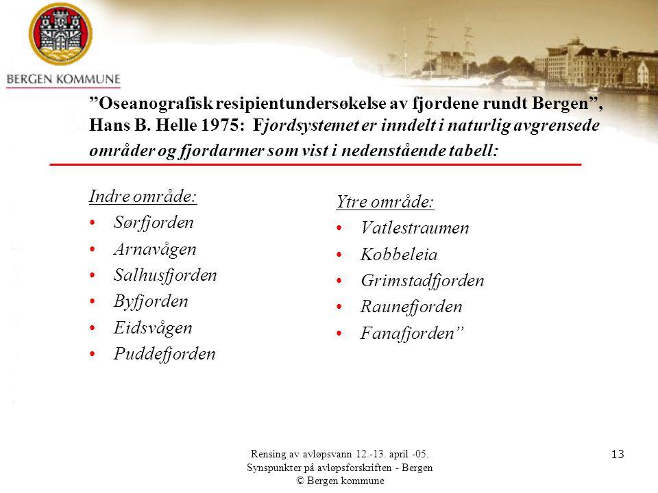 Oseanografisk resipientundersøkelse av fjordene rundt Bergen , Hans B