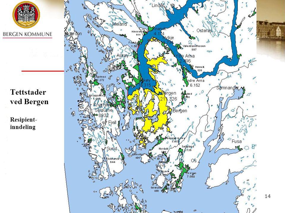 Tettstader ved Bergen Resipient-inndeling