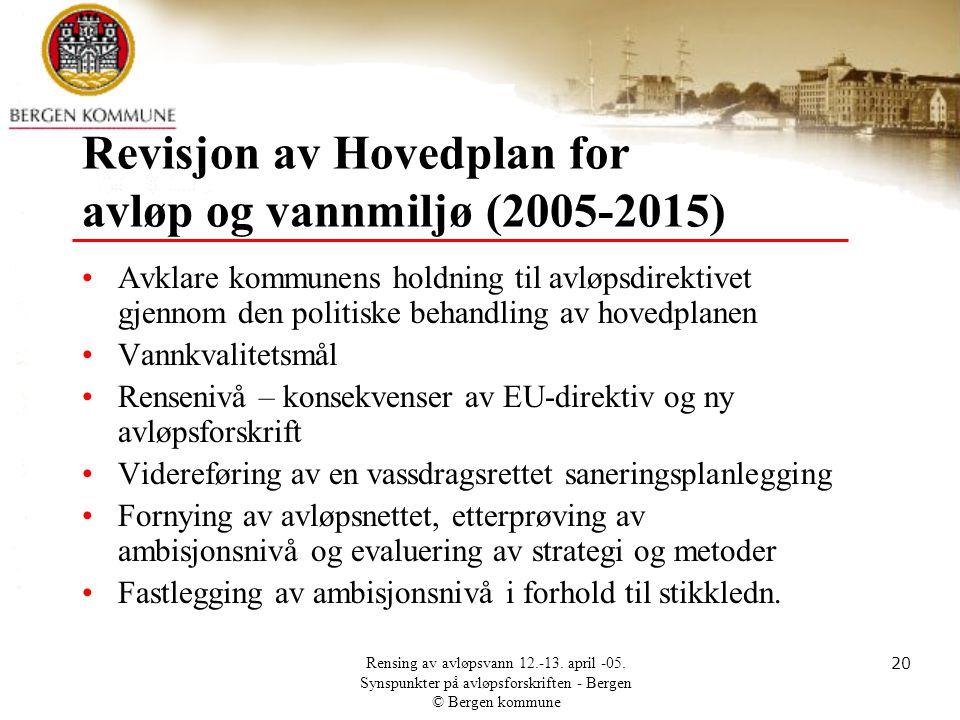 Revisjon av Hovedplan for avløp og vannmiljø (2005-2015)