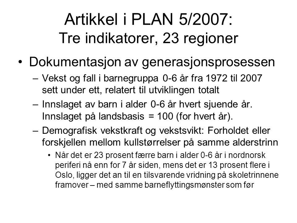 Artikkel i PLAN 5/2007: Tre indikatorer, 23 regioner