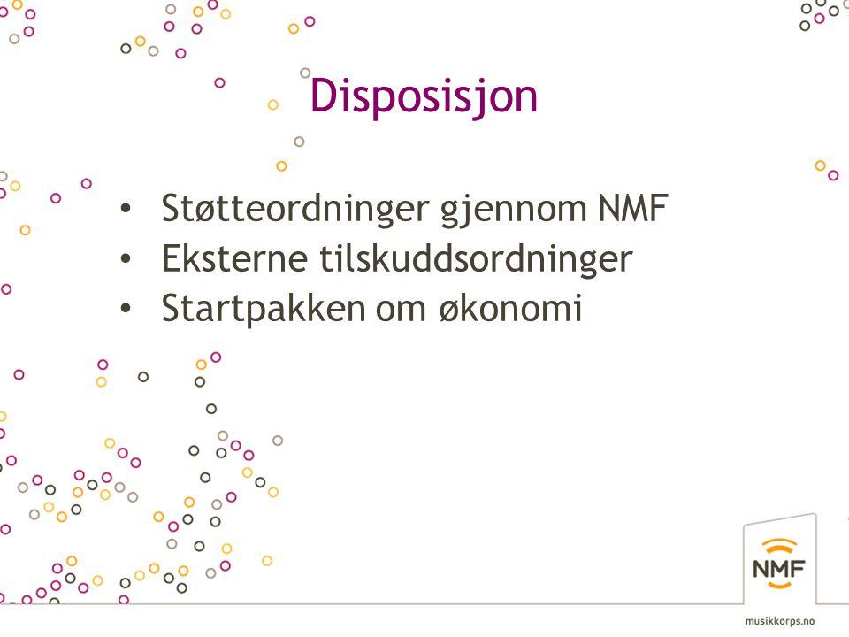 Disposisjon Støtteordninger gjennom NMF Eksterne tilskuddsordninger
