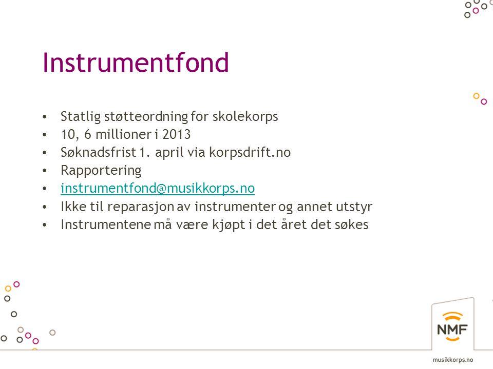 Instrumentfond Statlig støtteordning for skolekorps