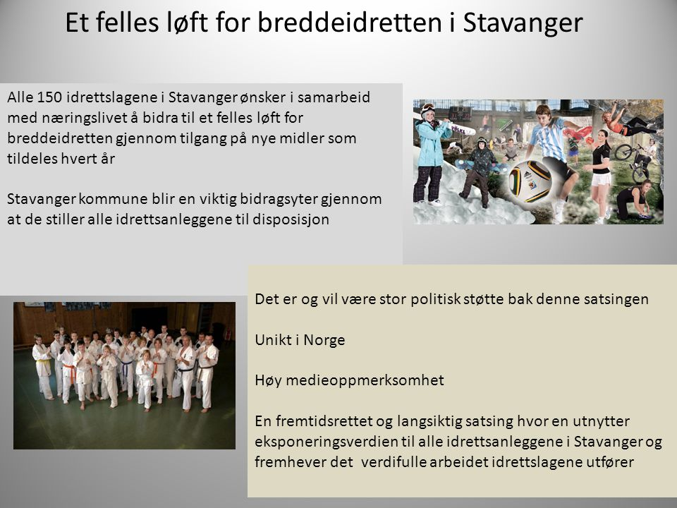 Et felles løft for breddeidretten i Stavanger