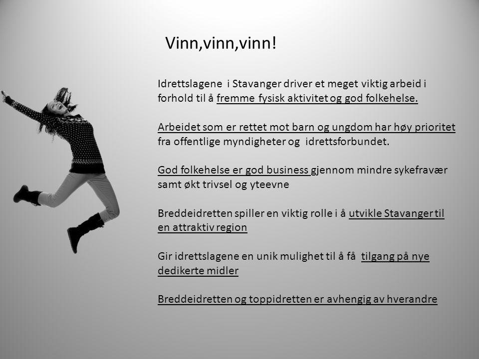 Vinn,vinn,vinn! Idrettslagene i Stavanger driver et meget viktig arbeid i forhold til å fremme fysisk aktivitet og god folkehelse.
