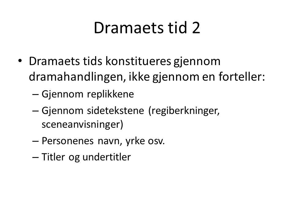 Dramaets tid 2 Dramaets tids konstitueres gjennom dramahandlingen, ikke gjennom en forteller: Gjennom replikkene.