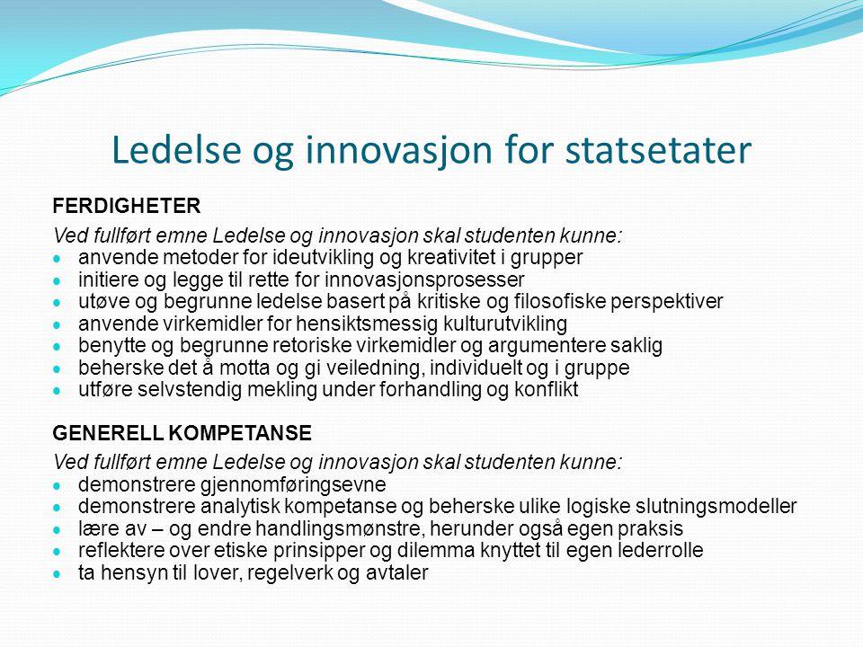 Ledelse og innovasjon for statsetater