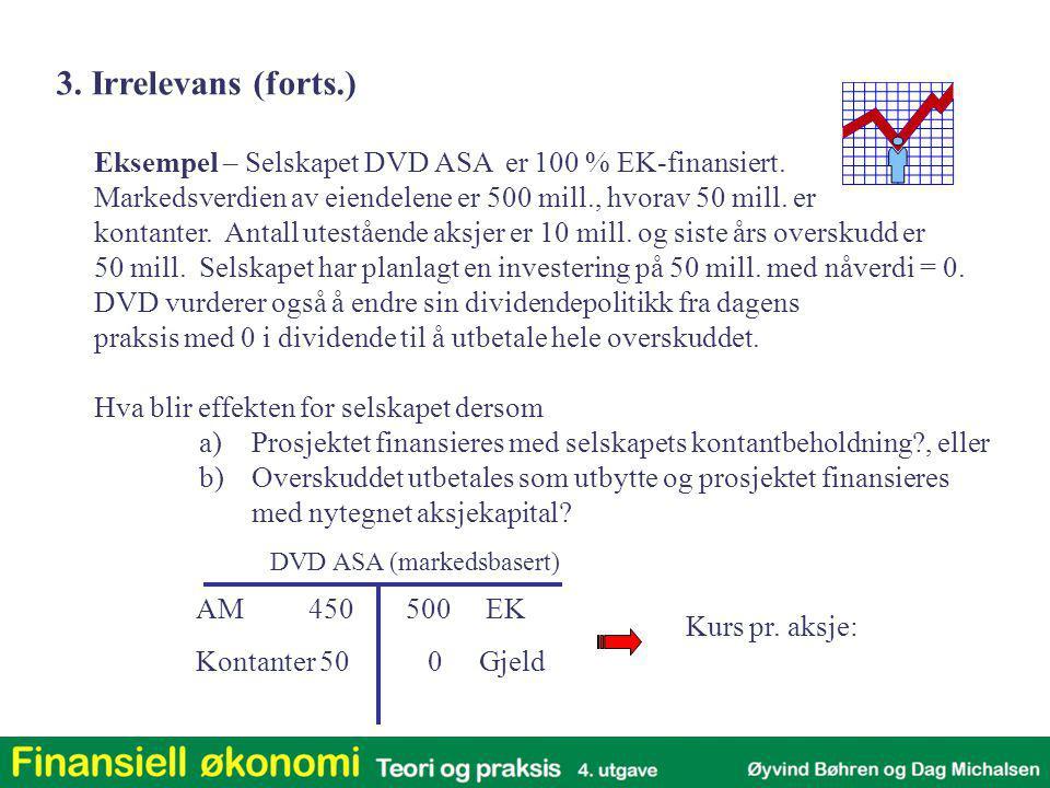 3. Irrelevans (forts.) Eksempel – Selskapet DVD ASA er 100 % EK-finansiert. Markedsverdien av eiendelene er 500 mill., hvorav 50 mill. er.