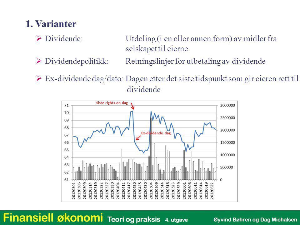 1. Varianter Dividende: Utdeling (i en eller annen form) av midler fra selskapet til eierne.