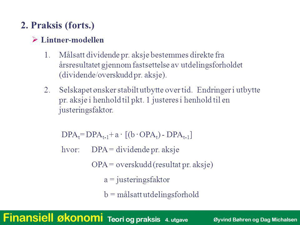 2. Praksis (forts.) Lintner-modellen