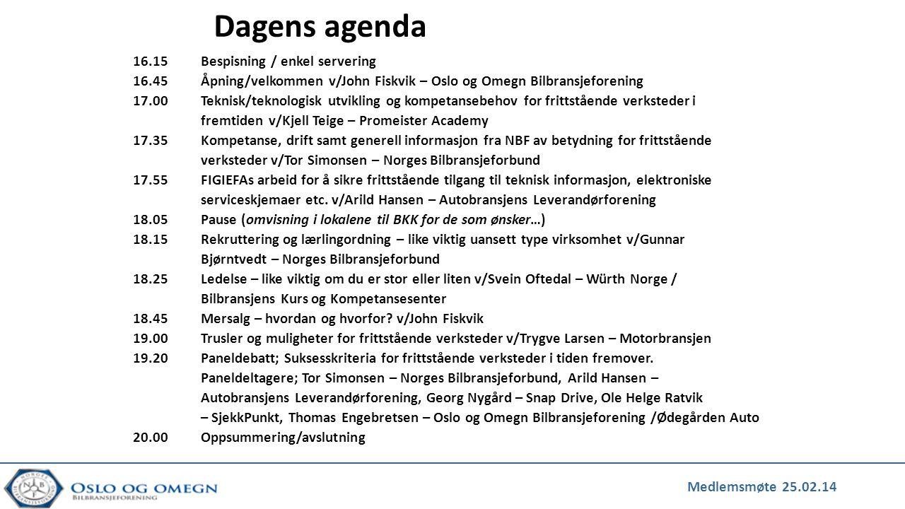 Dagens agenda 16.15 Bespisning / enkel servering