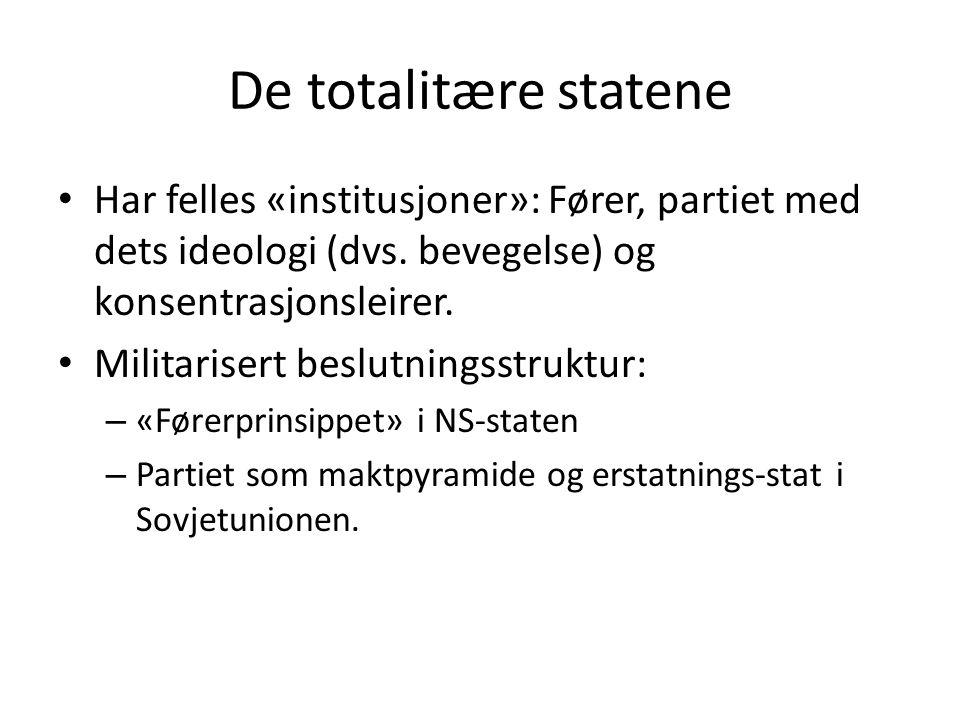 De totalitære statene Har felles «institusjoner»: Fører, partiet med dets ideologi (dvs. bevegelse) og konsentrasjonsleirer.