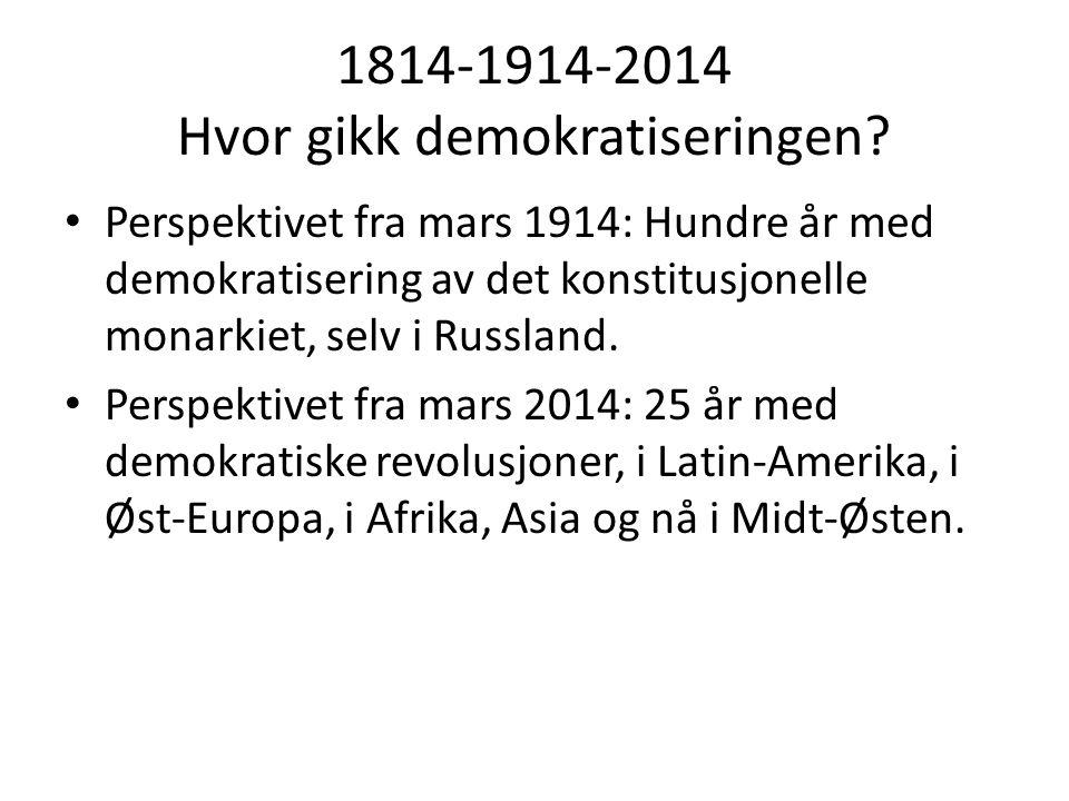 1814-1914-2014 Hvor gikk demokratiseringen