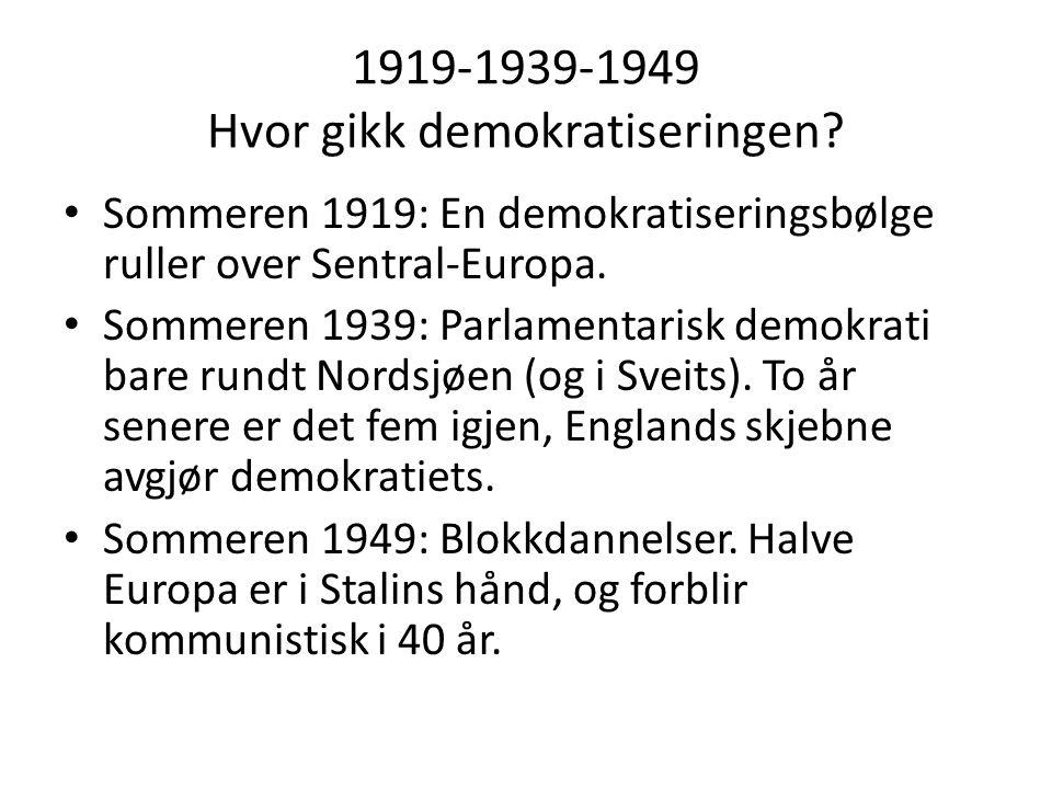 1919-1939-1949 Hvor gikk demokratiseringen