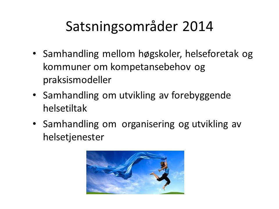 Satsningsområder 2014 Samhandling mellom høgskoler, helseforetak og kommuner om kompetansebehov og praksismodeller.