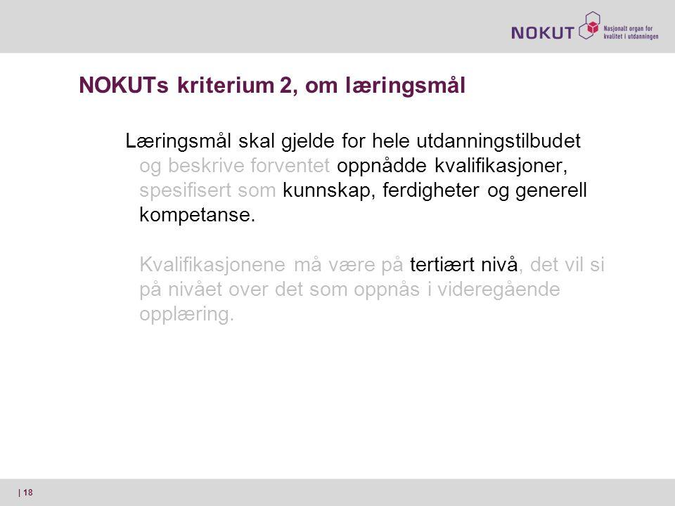 NOKUTs kriterium 2, om læringsmål