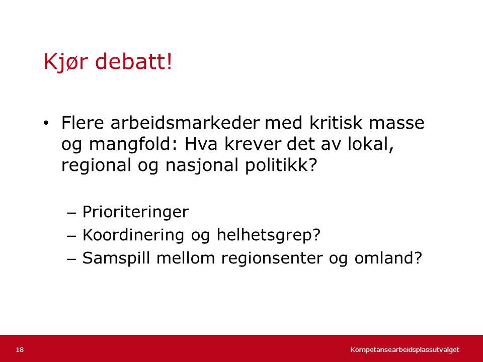 Kjør debatt! Flere arbeidsmarkeder med kritisk masse og mangfold: Hva krever det av lokal, regional og nasjonal politikk