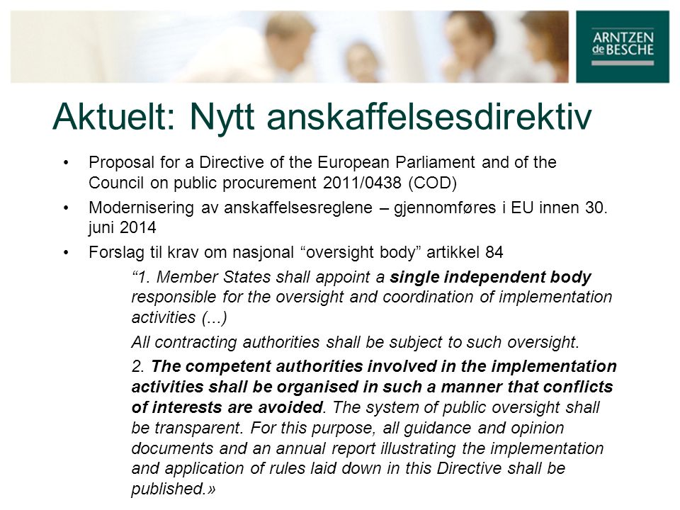 Aktuelt: Nytt anskaffelsesdirektiv