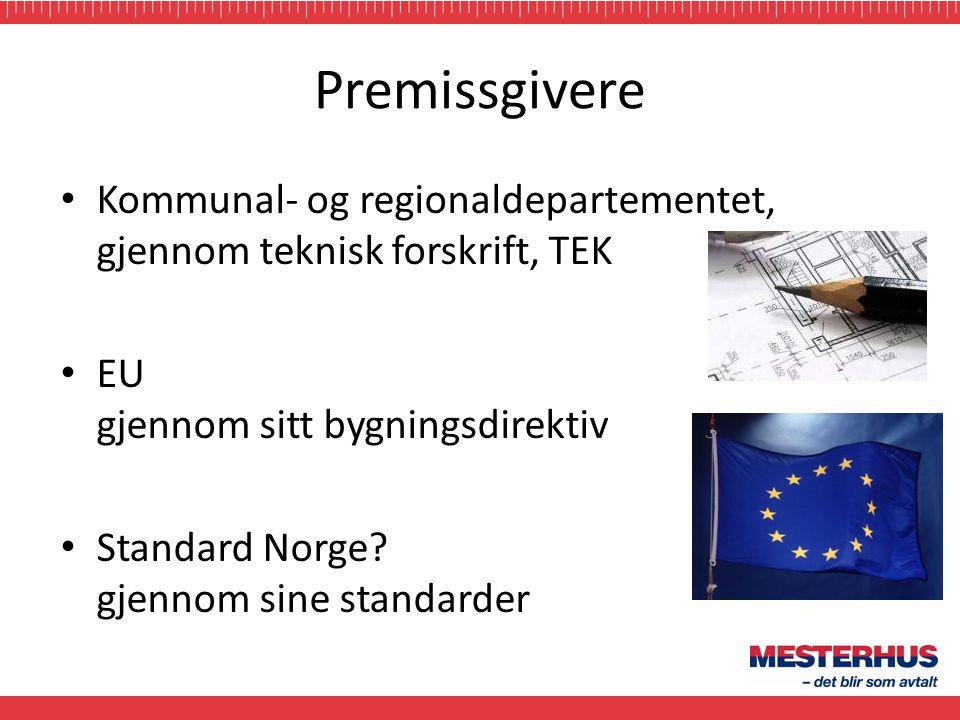 Premissgivere Kommunal- og regionaldepartementet, gjennom teknisk forskrift, TEK. EU gjennom sitt bygningsdirektiv