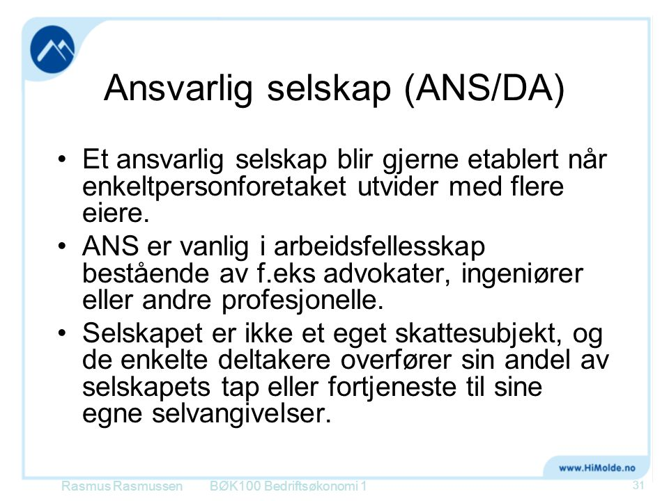 Ansvarlig selskap (ANS/DA)