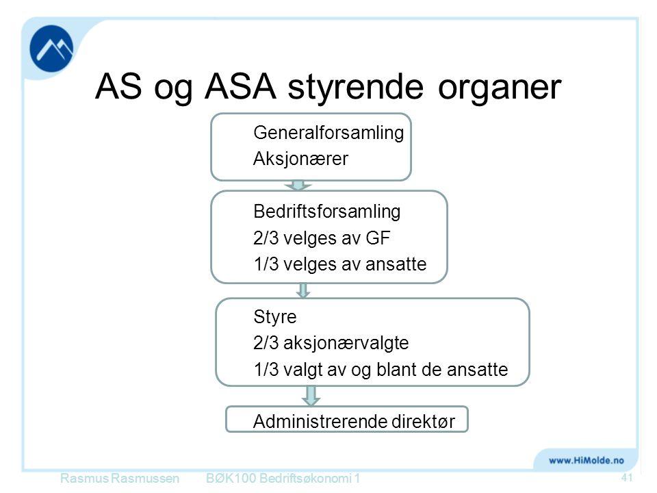 AS og ASA styrende organer