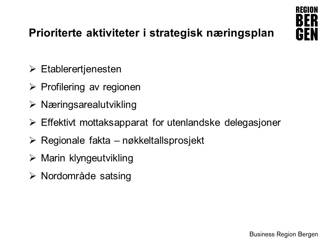 Prioriterte aktiviteter i strategisk næringsplan