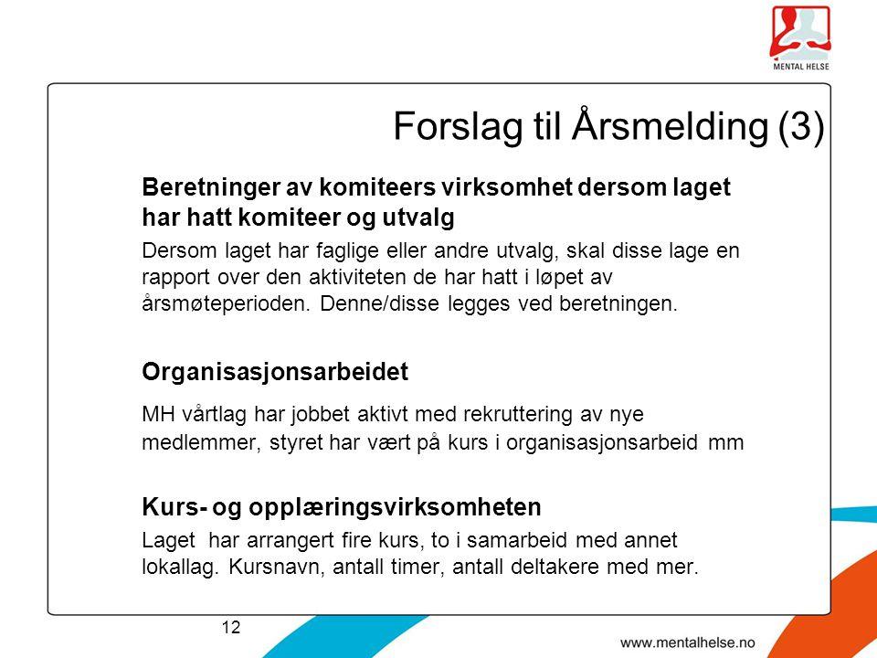 Forslag til Årsmelding (3)