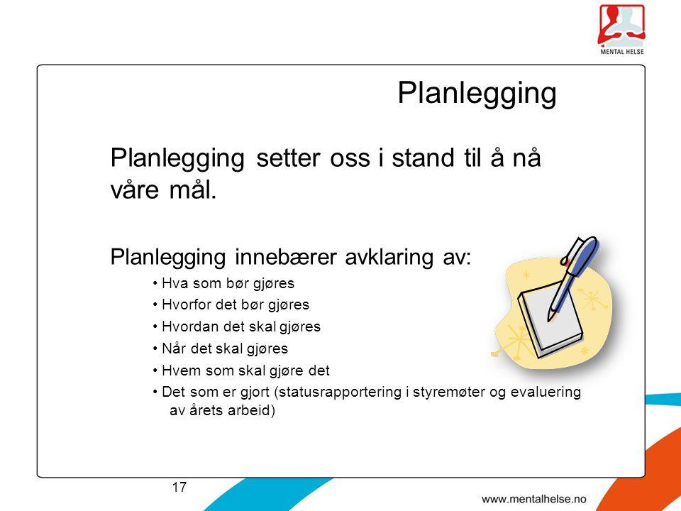 Planlegging Planlegging setter oss i stand til å nå våre mål.