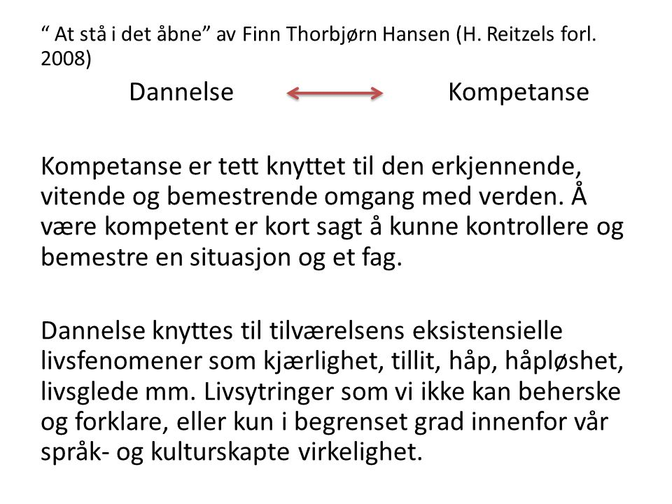 At stå i det åbne av Finn Thorbjørn Hansen (H. Reitzels forl. 2008)