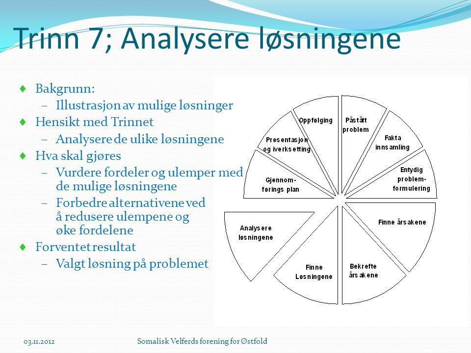 Trinn 7; Analysere løsningene