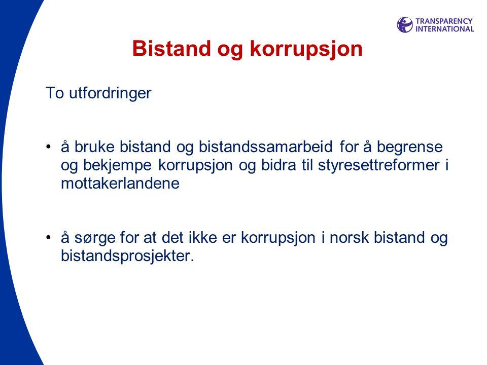 Bistand og korrupsjon To utfordringer