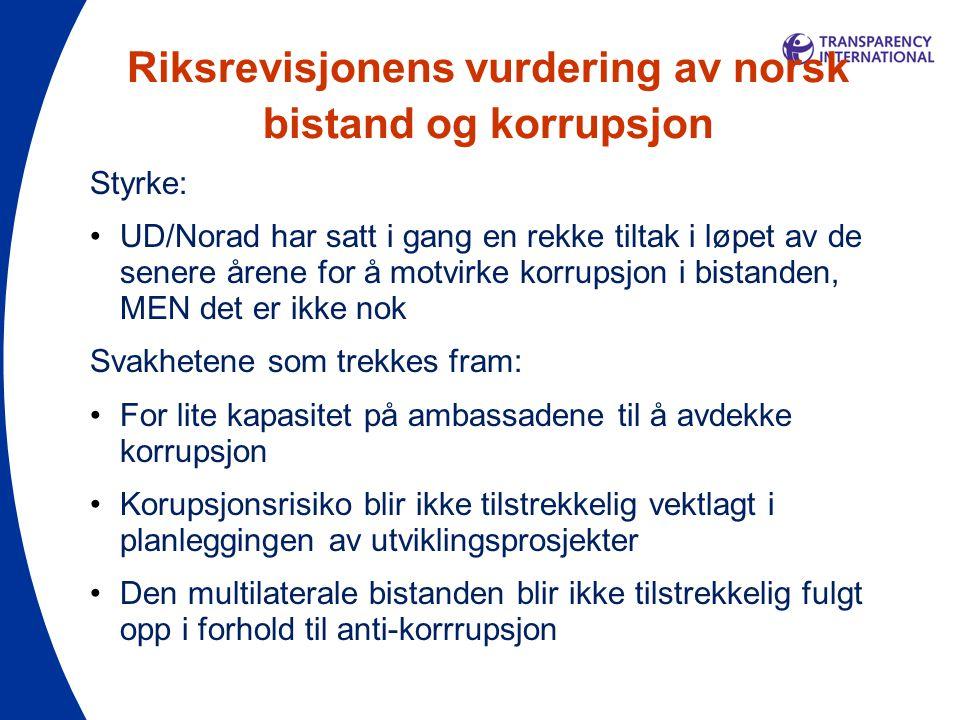 Riksrevisjonens vurdering av norsk bistand og korrupsjon