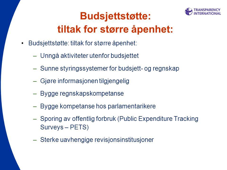 Budsjettstøtte: tiltak for større åpenhet: