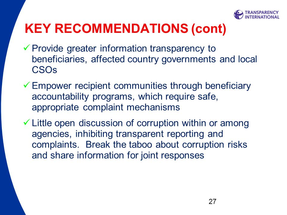 KEY RECOMMENDATIONS (cont)