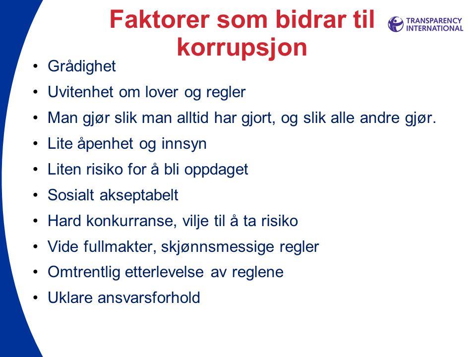 Faktorer som bidrar til korrupsjon