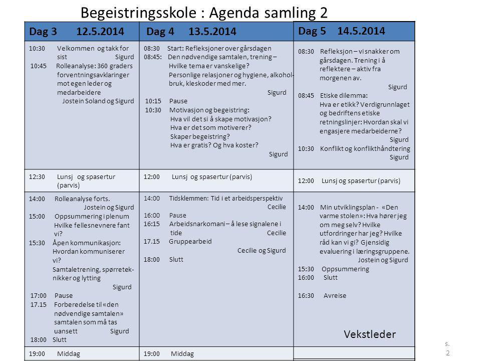 Begeistringsskole : Agenda samling 2
