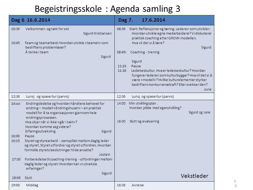 Begeistringsskole : Agenda samling 3