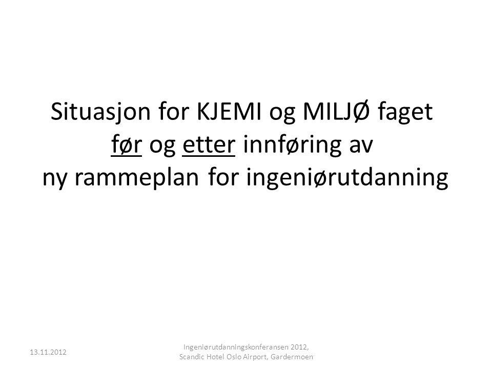 Situasjon for KJEMI og MILJØ faget før og etter innføring av