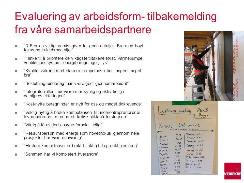 Evaluering av arbeidsform- tilbakemelding fra våre samarbeidspartnere
