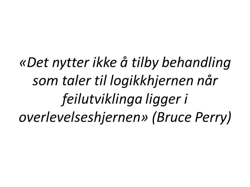 «Det nytter ikke å tilby behandling som taler til logikkhjernen når feilutviklinga ligger i overlevelseshjernen» (Bruce Perry)